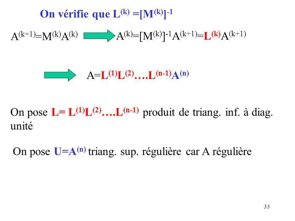 33 A=L (1) L (2) ….L (n-1) A (n) On pose L= L (1) L (2) ….L (n-1) produit de triang.