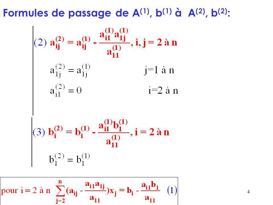 5 A partir du système A (2) x=b (2), on peut procéder de façon similaire à partir de la 2 ème équation et linconnue x 2.