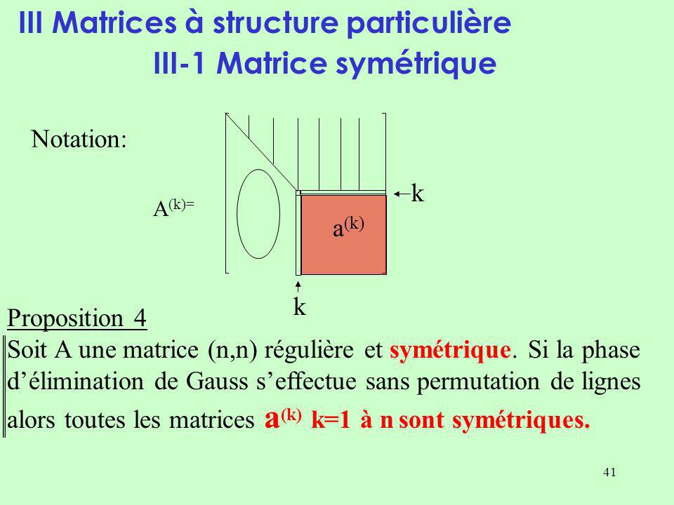 41 III Matrices à structure particulière III-1 Matrice symétrique Proposition 4 Soit A une matrice (n,n) régulière et symétrique.