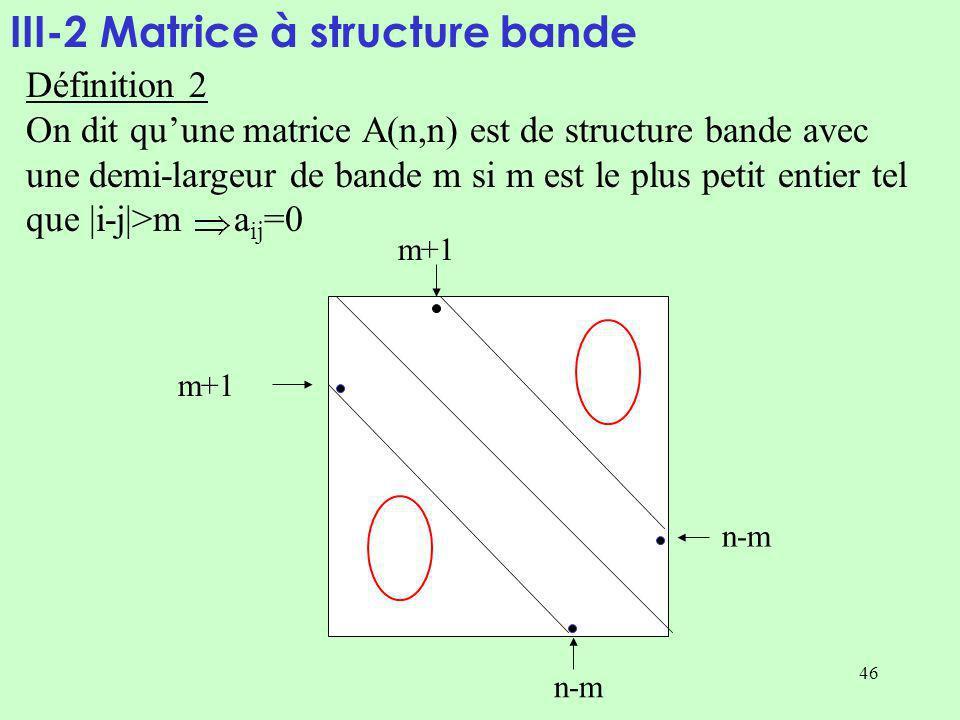 46 III-2 Matrice à structure bande Définition 2 On dit quune matrice A(n,n) est de structure bande avec une demi-largeur de bande m si m est le plus petit entier tel que |i-j|>m a ij =0 n-m m+1