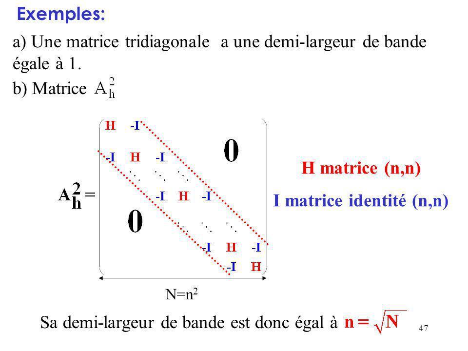 47 a) Une matrice tridiagonale a une demi-largeur de bande égale à 1.