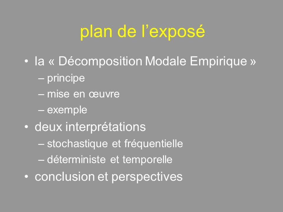 plan de lexposé la « Décomposition Modale Empirique » –principe –mise en œuvre –exemple deux interprétations –stochastique et fréquentielle –déterministe et temporelle conclusion et perspectives