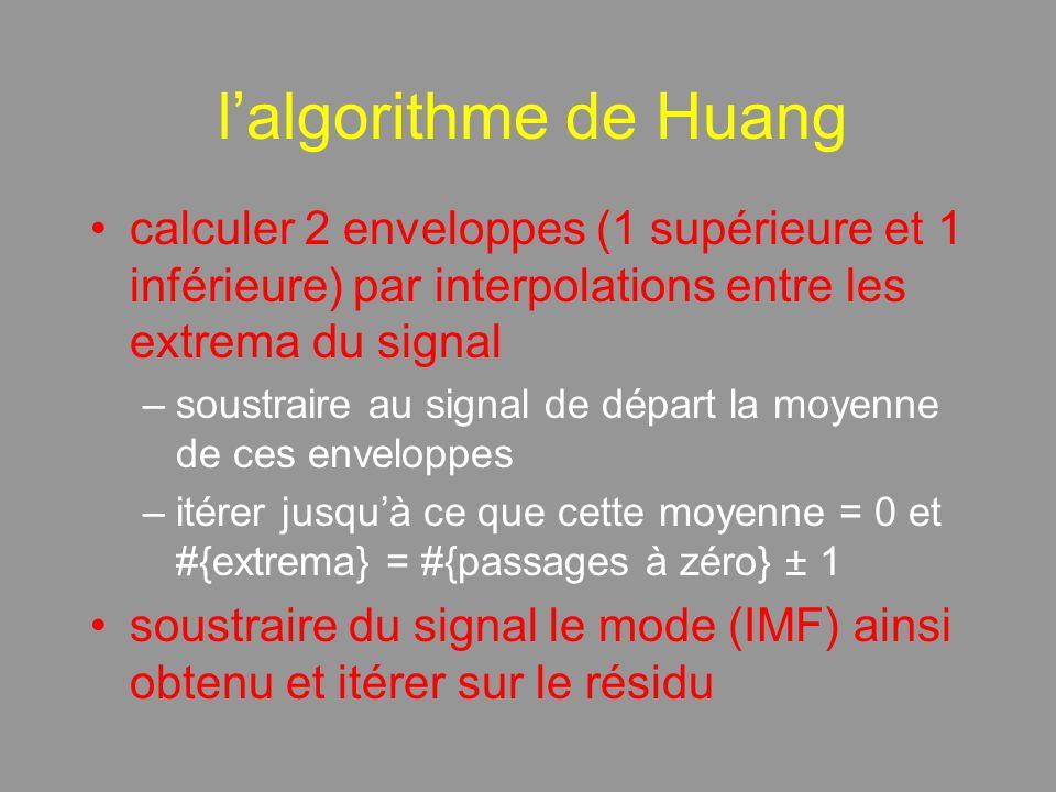 lalgorithme de Huang calculer 2 enveloppes (1 supérieure et 1 inférieure) par interpolations entre les extrema du signal –soustraire au signal de départ la moyenne de ces enveloppes –itérer jusquà ce que cette moyenne = 0 et #{extrema} = #{passages à zéro} ± 1 soustraire du signal le mode (IMF) ainsi obtenu et itérer sur le résidu