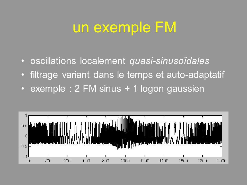 un exemple FM oscillations localement quasi-sinusoïdales filtrage variant dans le temps et auto-adaptatif exemple : 2 FM sinus + 1 logon gaussien