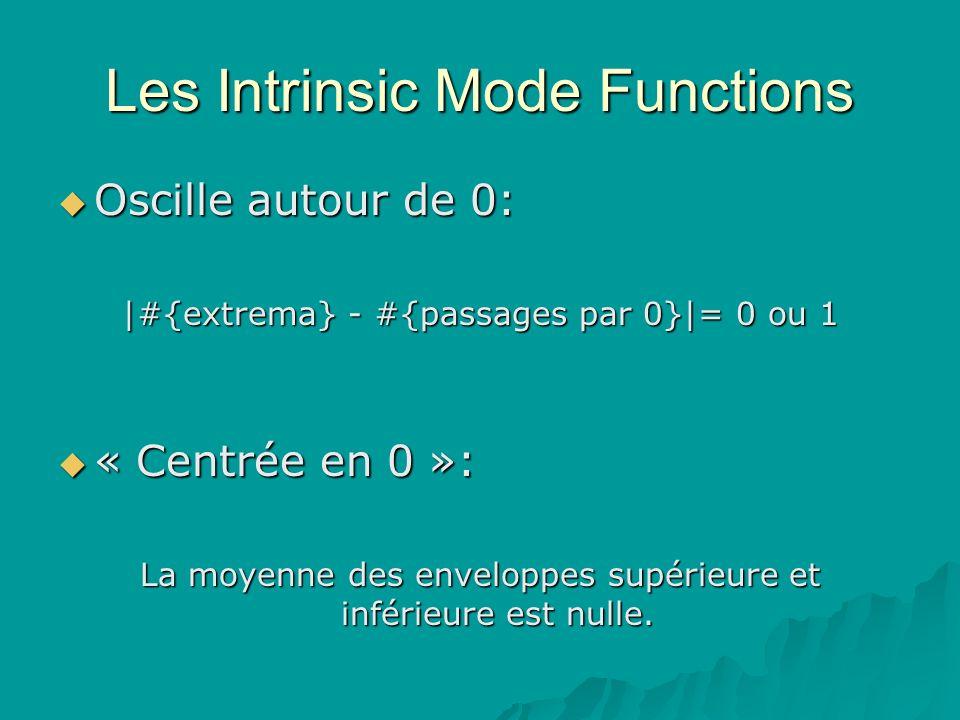 Les Intrinsic Mode Functions Oscille autour de 0: Oscille autour de 0: |#{extrema} - #{passages par 0}|= 0 ou 1 « Centrée en 0 »: « Centrée en 0 »: La moyenne des enveloppes supérieure et inférieure est nulle.