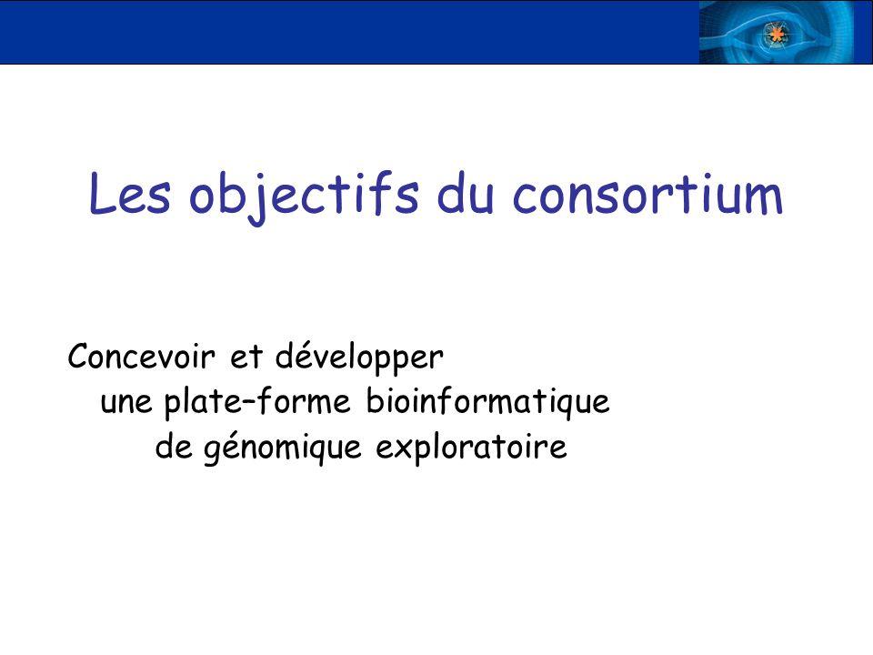 Les objectifs du consortium Concevoir et développer une plate–forme bioinformatique de génomique exploratoire