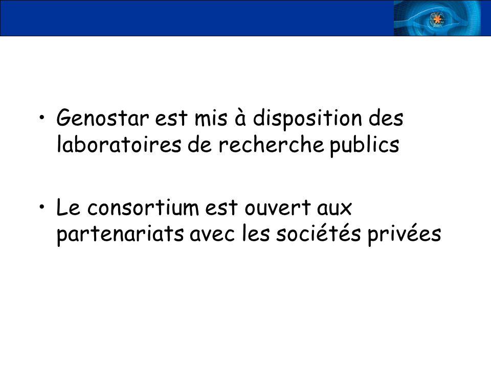 Genostar est mis à disposition des laboratoires de recherche publics Le consortium est ouvert aux partenariats avec les sociétés privées