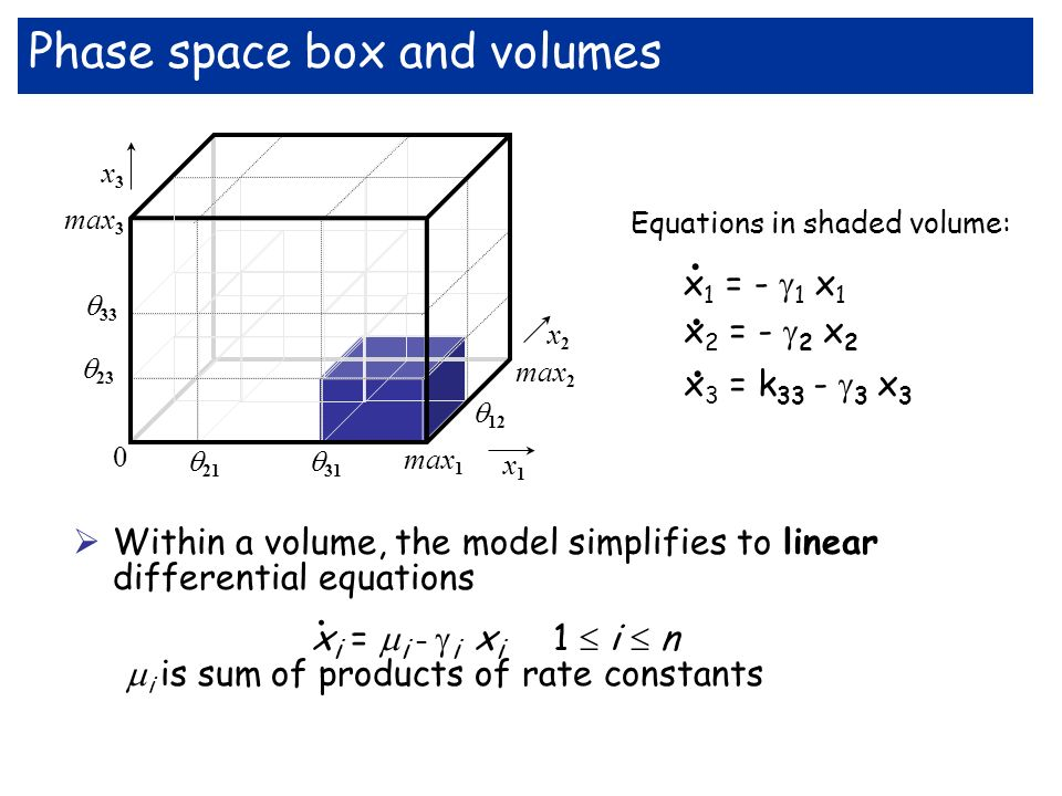 Within a volume, the model simplifies to linear differential equations i is sum of products of rate constants x i = i – i x i 1 i n.