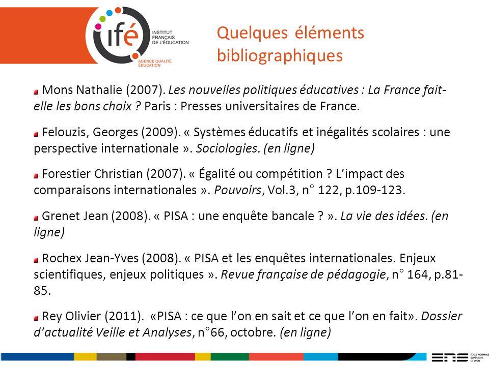 Quelques éléments bibliographiques Mons Nathalie (2007). Les nouvelles politiques éducatives : La France fait- elle les bons choix ? Paris : Presses