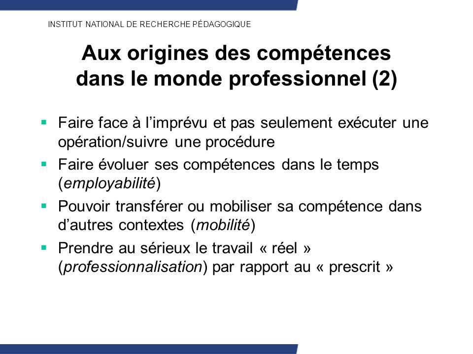 INSTITUT NATIONAL DE RECHERCHE PÉDAGOGIQUE Aux origines des compétences dans le monde professionnel (2) Faire face à limprévu et pas seulement exécute