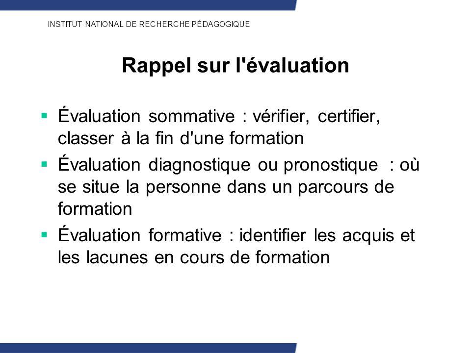 INSTITUT NATIONAL DE RECHERCHE PÉDAGOGIQUE Rappel sur l'évaluation Évaluation sommative : vérifier, certifier, classer à la fin d'une formation Évalua