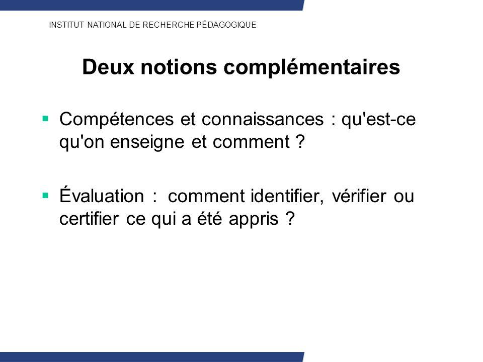 INSTITUT NATIONAL DE RECHERCHE PÉDAGOGIQUE Deux notions complémentaires Compétences et connaissances : qu'est-ce qu'on enseigne et comment ? Évaluatio