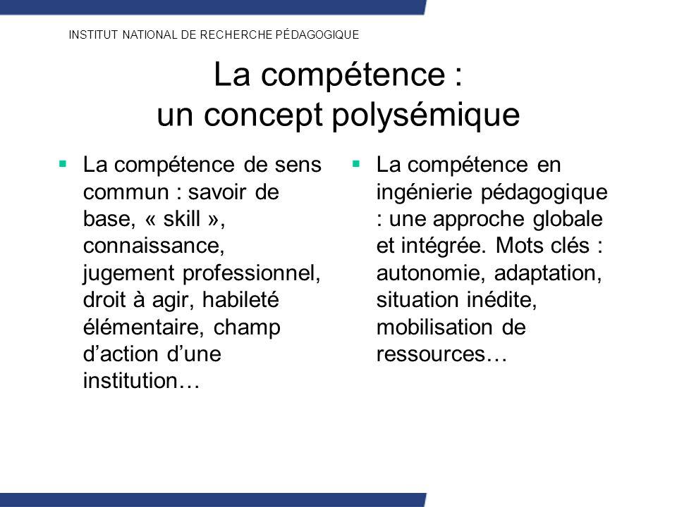 INSTITUT NATIONAL DE RECHERCHE PÉDAGOGIQUE La compétence : un concept polysémique La compétence de sens commun : savoir de base, « skill », connaissan
