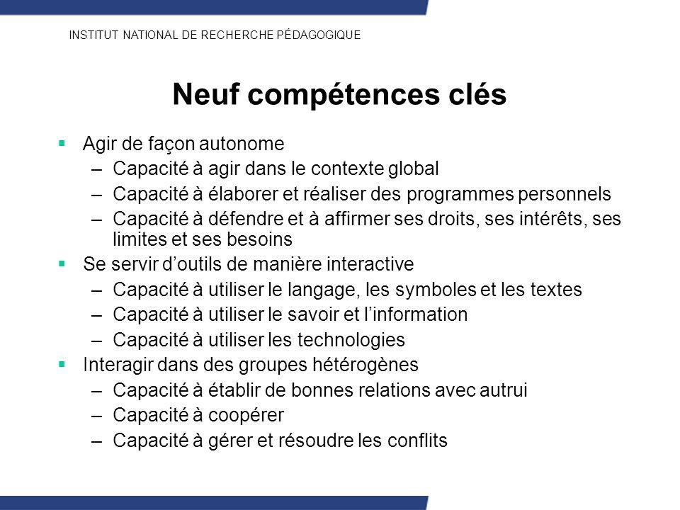 INSTITUT NATIONAL DE RECHERCHE PÉDAGOGIQUE Neuf compétences clés Agir de façon autonome –Capacité à agir dans le contexte global –Capacité à élaborer