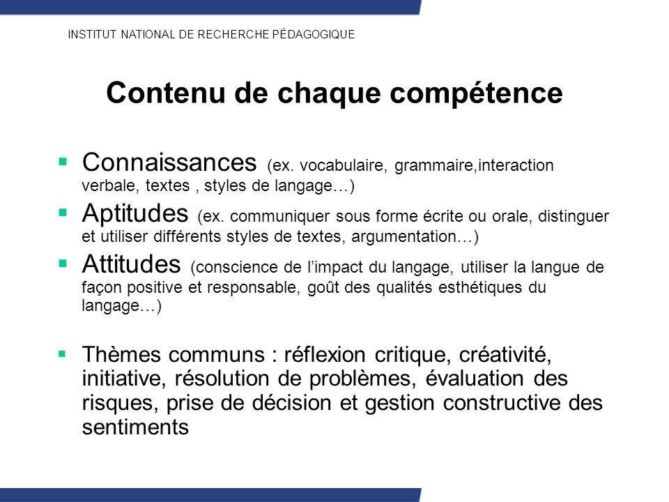 INSTITUT NATIONAL DE RECHERCHE PÉDAGOGIQUE Contenu de chaque compétence Connaissances (ex. vocabulaire, grammaire,interaction verbale, textes, styles