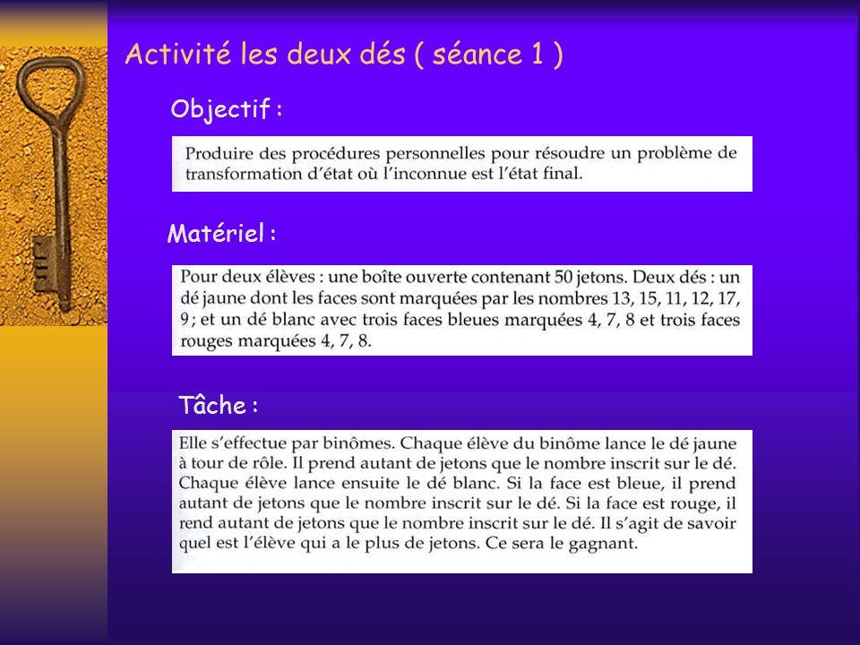 Action 2 : Activité: les deux tas de cartes ( séance 1 ) Formulation 2 :