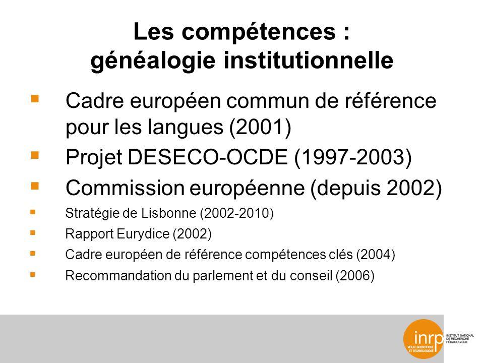 Les compétences : généalogie institutionnelle Cadre européen commun de référence pour les langues (2001) Projet DESECO-OCDE (1997-2003) Commission européenne (depuis 2002) Stratégie de Lisbonne (2002-2010) Rapport Eurydice (2002) Cadre européen de référence compétences clés (2004) Recommandation du parlement et du conseil (2006)
