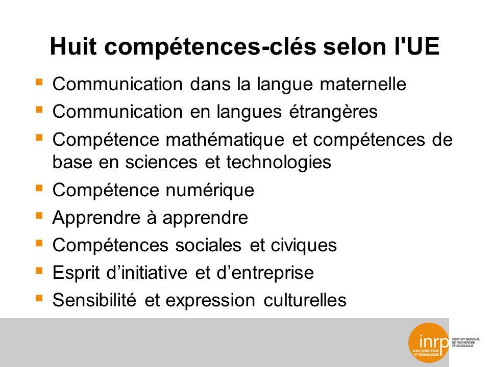 Huit compétences-clés selon l UE Communication dans la langue maternelle Communication en langues étrangères Compétence mathématique et compétences de base en sciences et technologies Compétence numérique Apprendre à apprendre Compétences sociales et civiques Esprit dinitiative et dentreprise Sensibilité et expression culturelles