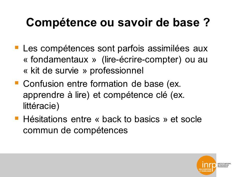 Compétence ou savoir de base .
