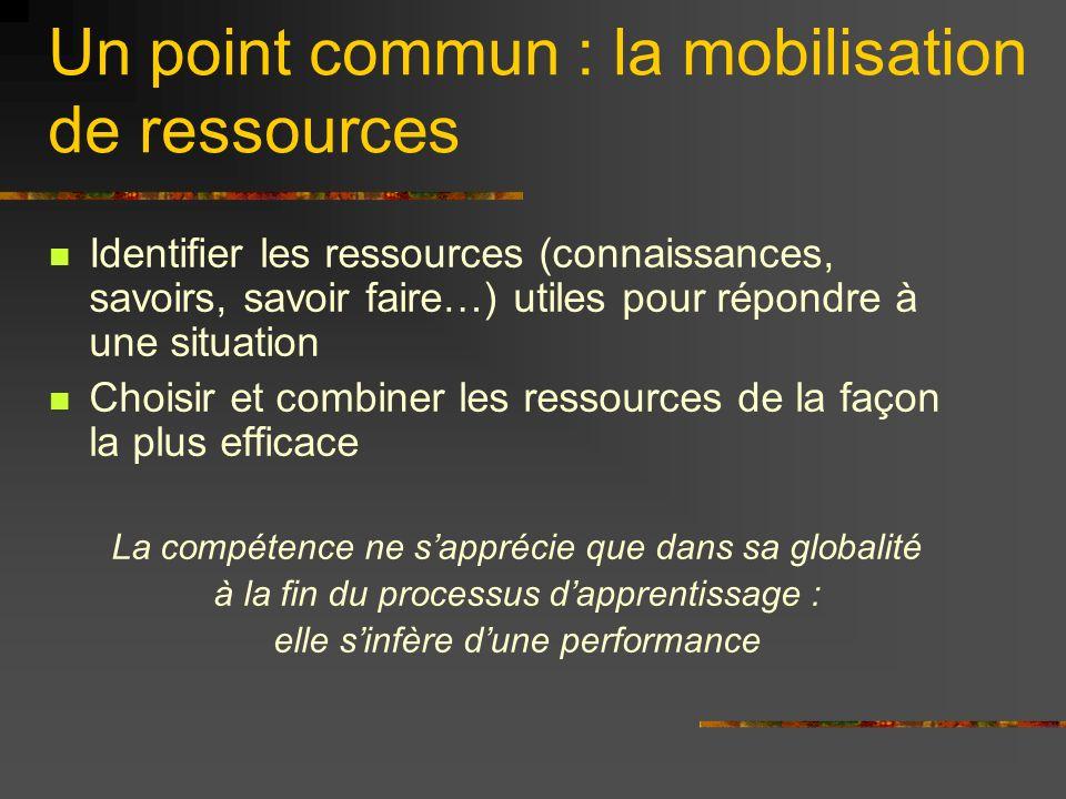 Un point commun : la mobilisation de ressources Identifier les ressources (connaissances, savoirs, savoir faire…) utiles pour répondre à une situation Choisir et combiner les ressources de la façon la plus efficace La compétence ne sapprécie que dans sa globalité à la fin du processus dapprentissage : elle sinfère dune performance