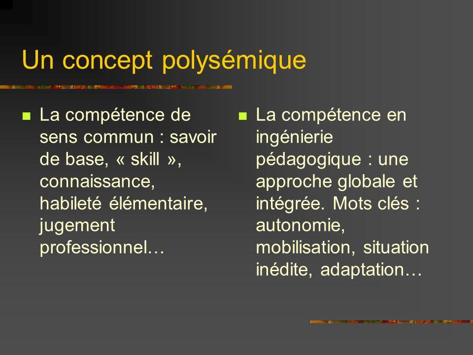 Un concept polysémique La compétence de sens commun : savoir de base, « skill », connaissance, habileté élémentaire, jugement professionnel… La compétence en ingénierie pédagogique : une approche globale et intégrée.