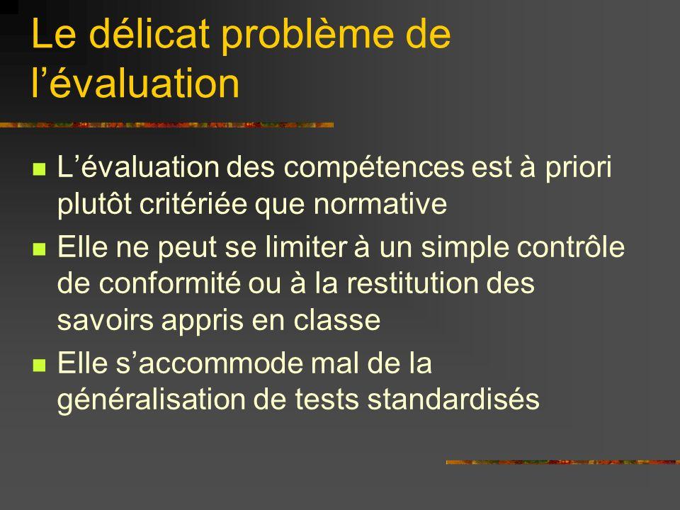 Le délicat problème de lévaluation Lévaluation des compétences est à priori plutôt critériée que normative Elle ne peut se limiter à un simple contrôle de conformité ou à la restitution des savoirs appris en classe Elle saccommode mal de la généralisation de tests standardisés
