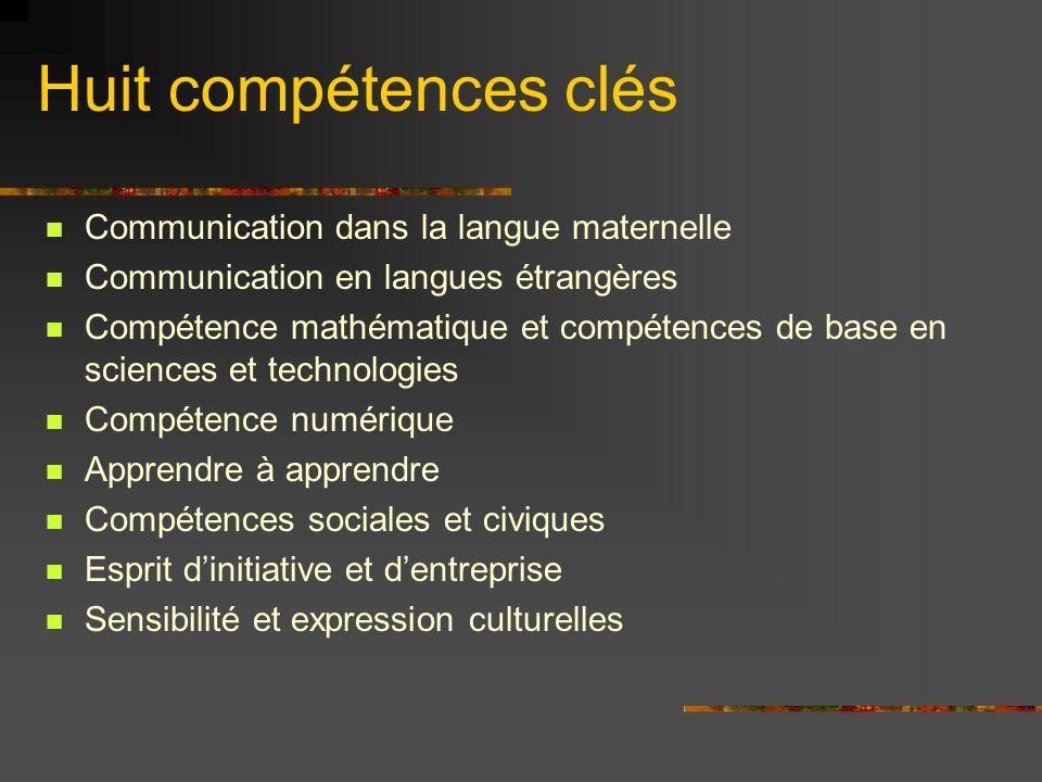 Huit compétences clés Communication dans la langue maternelle Communication en langues étrangères Compétence mathématique et compétences de base en sciences et technologies Compétence numérique Apprendre à apprendre Compétences sociales et civiques Esprit dinitiative et dentreprise Sensibilité et expression culturelles