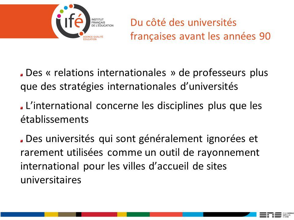 Du côté des universités françaises avant les années 90 Des « relations internationales » de professeurs plus que des stratégies internationales duniversités Linternational concerne les disciplines plus que les établissements Des universités qui sont généralement ignorées et rarement utilisées comme un outil de rayonnement international pour les villes daccueil de sites universitaires