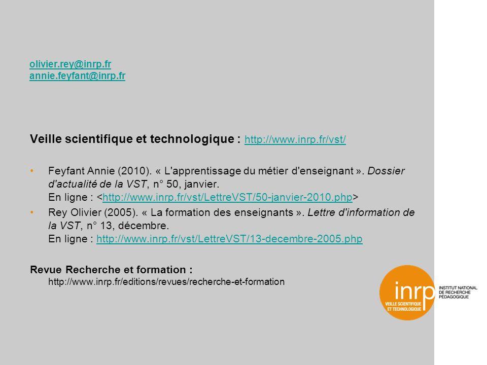 olivier.rey@inrp.fr annie.feyfant@inrp.fr Veille scientifique et technologique : http://www.inrp.fr/vst/ http://www.inrp.fr/vst/ Feyfant Annie (2010).