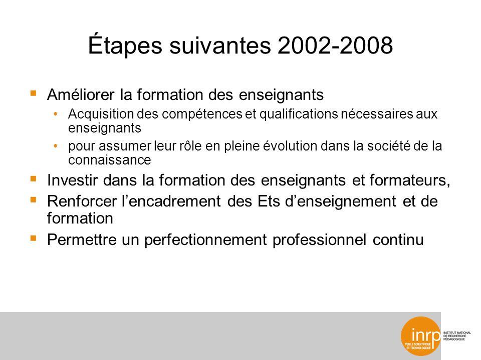 Étapes suivantes 2002-2008 Améliorer la formation des enseignants Acquisition des compétences et qualifications nécessaires aux enseignants pour assum