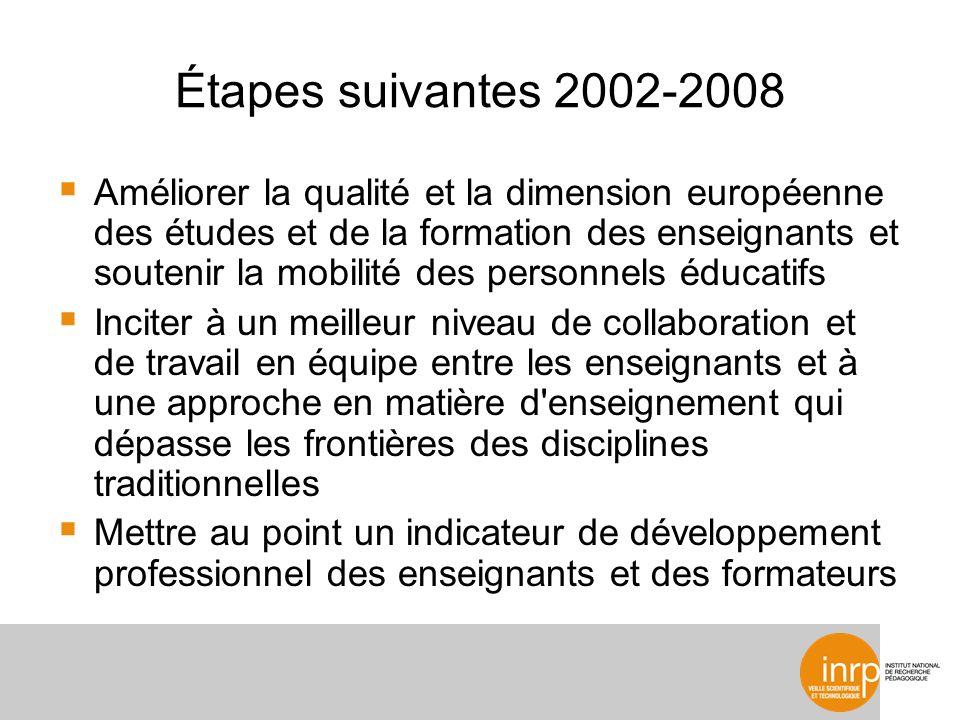 Étapes suivantes 2002-2008 Améliorer la qualité et la dimension européenne des études et de la formation des enseignants et soutenir la mobilité des p