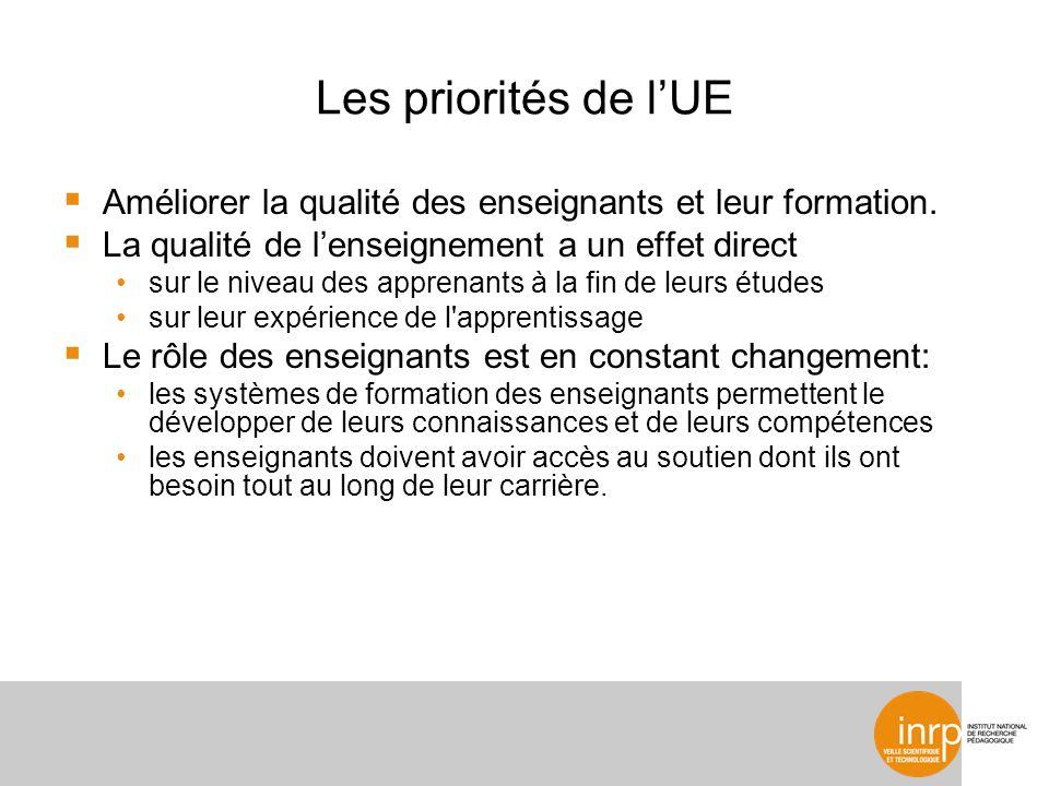 Les priorités de lUE Améliorer la qualité des enseignants et leur formation. La qualité de lenseignement a un effet direct sur le niveau des apprenant