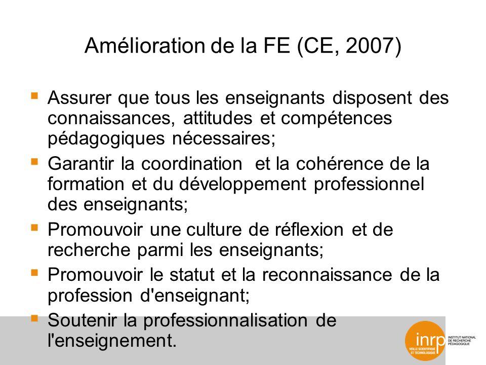 Amélioration de la FE (CE, 2007) Assurer que tous les enseignants disposent des connaissances, attitudes et compétences pédagogiques nécessaires; Gara