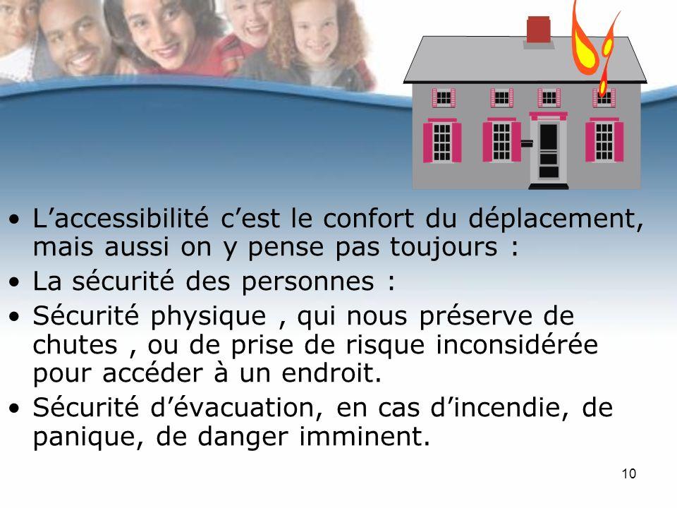 10 Laccessibilité cest le confort du déplacement, mais aussi on y pense pas toujours : La sécurité des personnes : Sécurité physique, qui nous préserve de chutes, ou de prise de risque inconsidérée pour accéder à un endroit.