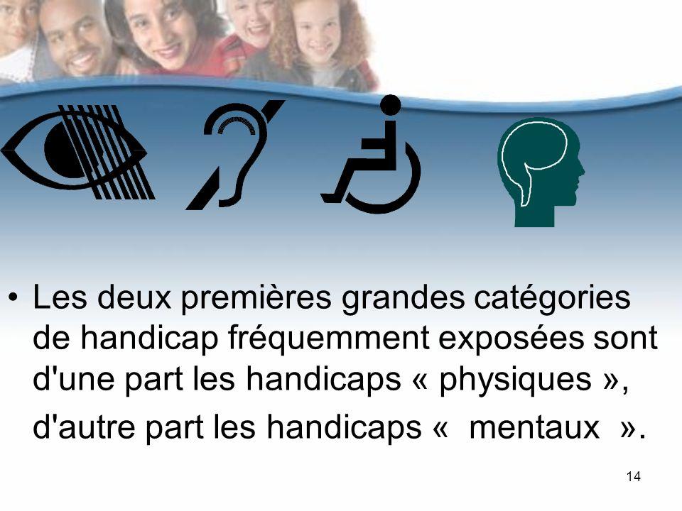 14 Les deux premières grandes catégories de handicap fréquemment exposées sont d une part les handicaps « physiques », d autre part les handicaps « mentaux ».
