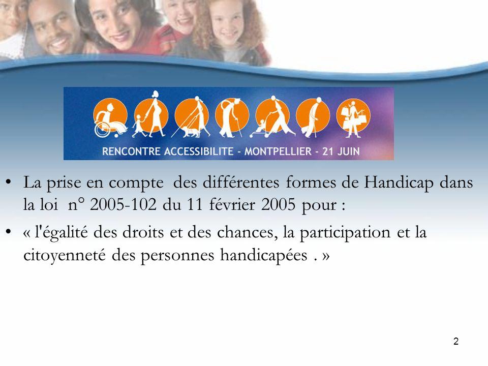 2 La prise en compte des différentes formes de Handicap dans la loi n° 2005-102 du 11 février 2005 pour : « l égalité des droits et des chances, la participation et la citoyenneté des personnes handicapées.