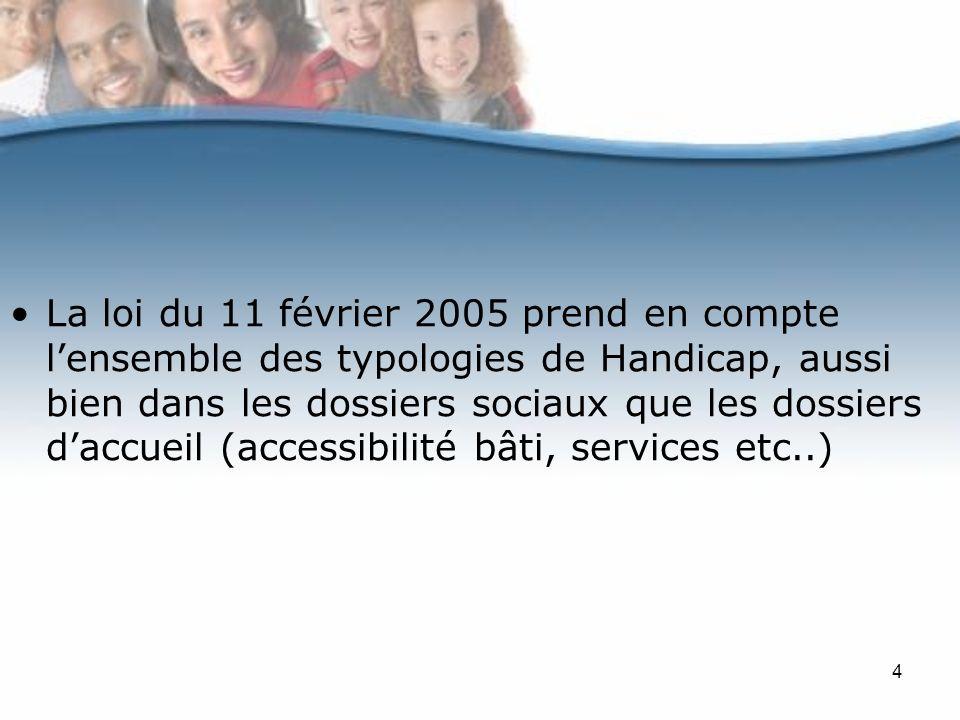 4 La loi du 11 février 2005 prend en compte lensemble des typologies de Handicap, aussi bien dans les dossiers sociaux que les dossiers daccueil (accessibilité bâti, services etc..)