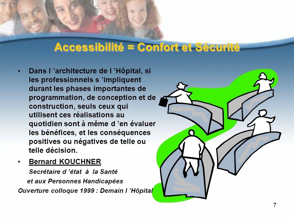 7 Accessibilité = Confort et Sécurité Dans l architecture de l Hôpital, si les professionnels s impliquent durant les phases importantes de programmation, de conception et de construction, seuls ceux qui utilisent ces réalisations au quotidien sont à même d en évaluer les bénéfices, et les conséquences positives ou négatives de telle ou telle décision.