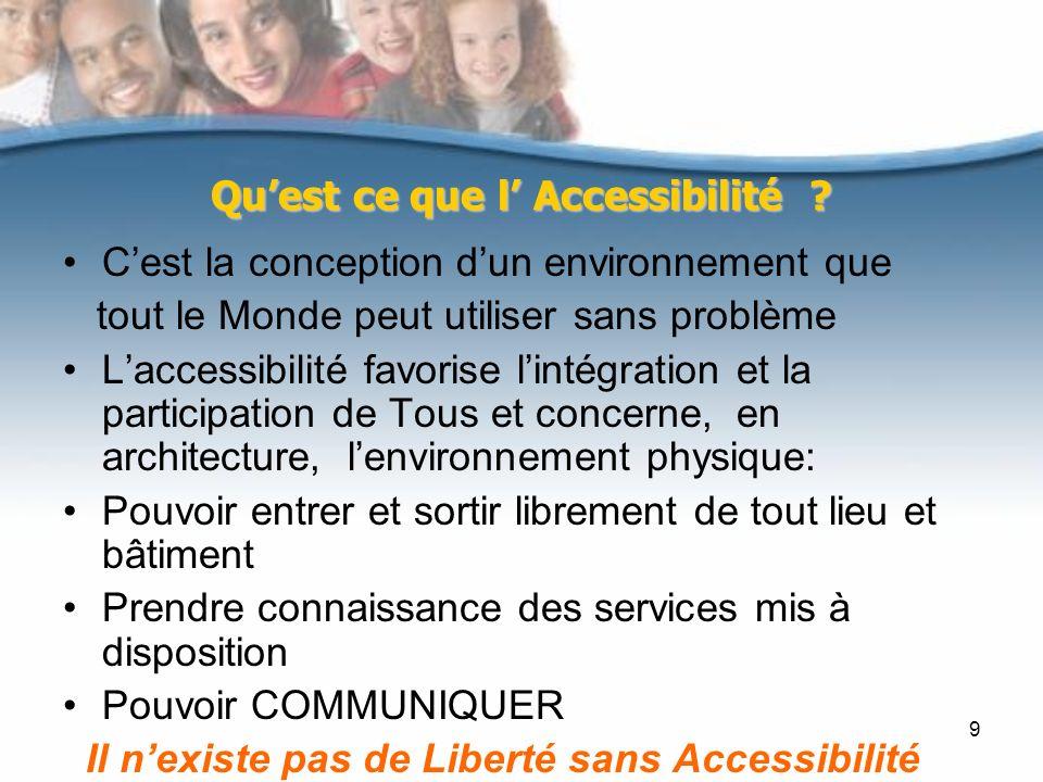 9 Quest ce que l Accessibilité ? Cest la conception dun environnement que tout le Monde peut utiliser sans problème Laccessibilité favorise lintégrati