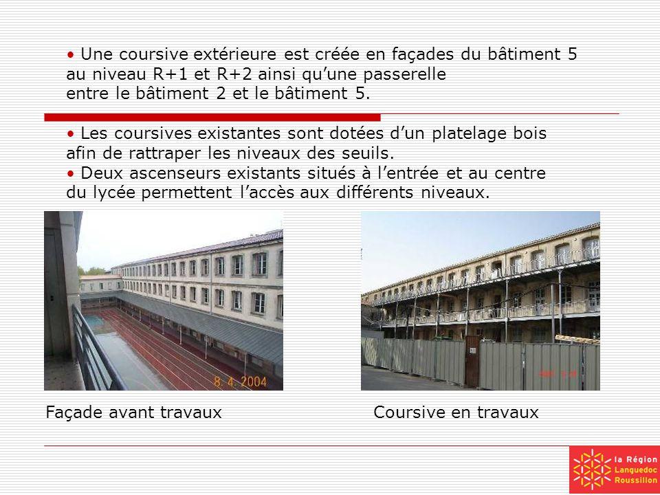 Une coursive extérieure est créée en façades du bâtiment 5 au niveau R+1 et R+2 ainsi quune passerelle entre le bâtiment 2 et le bâtiment 5. Les cours