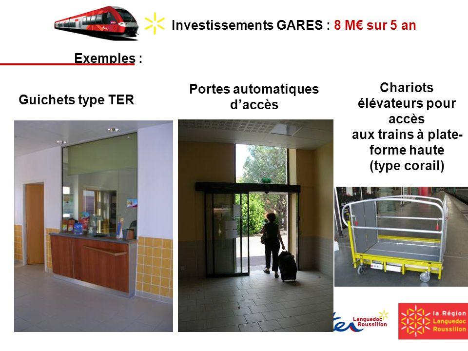 Investissements GARES : 8 M sur 5 an Exemples : Portes automatiques daccès Chariots élévateurs pour accès aux trains à plate- forme haute (type corail) Guichets type TER