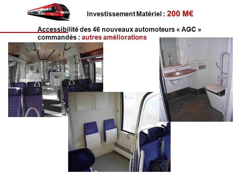 Investissement Matériel : 200 M Accessibilité des 46 nouveaux automoteurs « AGC » commandés : autres améliorations