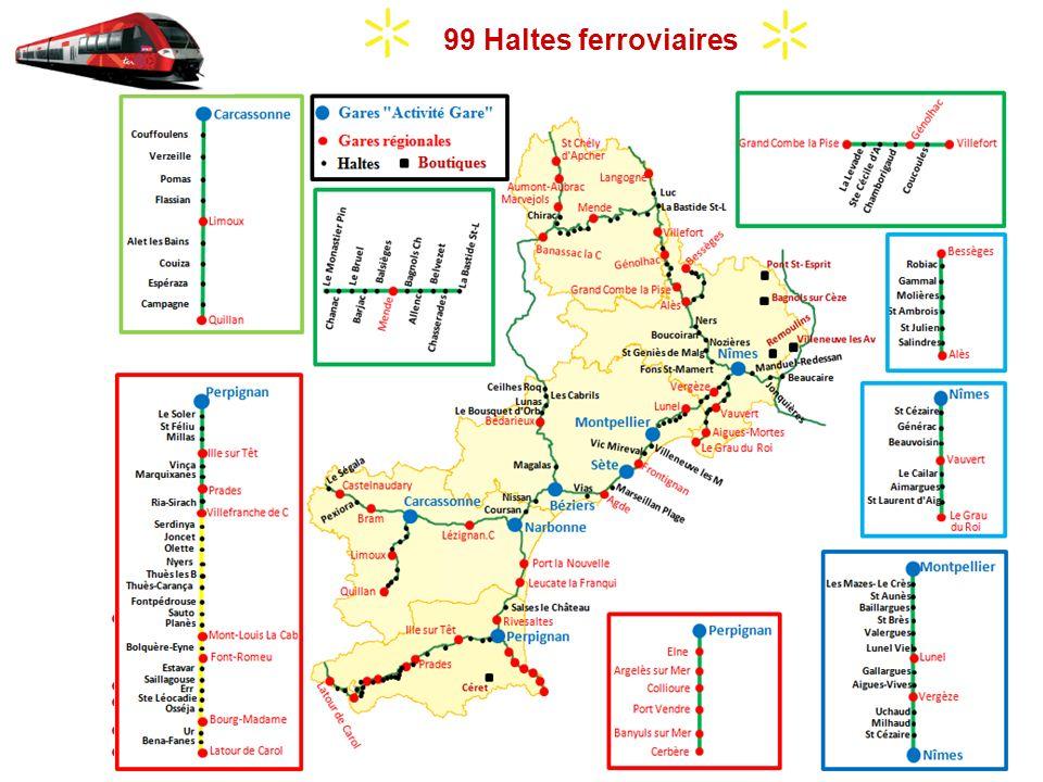 7 Gares Grandes Lignes (compétence exclusive SNCF) 40 Gares TER 99 Haltes ferroviaires