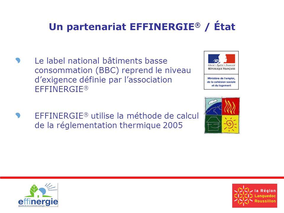 Un partenariat EFFINERGIE ® / État Le label national bâtiments basse consommation (BBC) reprend le niveau dexigence définie par lassociation EFFINERGIE ® EFFINERGIE ® utilise la méthode de calcul de la réglementation thermique 2005
