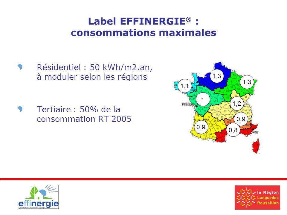 Label EFFINERGIE ® : consommations maximales Résidentiel : 50 kWh/m2.an, à moduler selon les régions Tertiaire : 50% de la consommation RT 2005 0,9 1,1 1,3 1,2 0,9 1 0,8