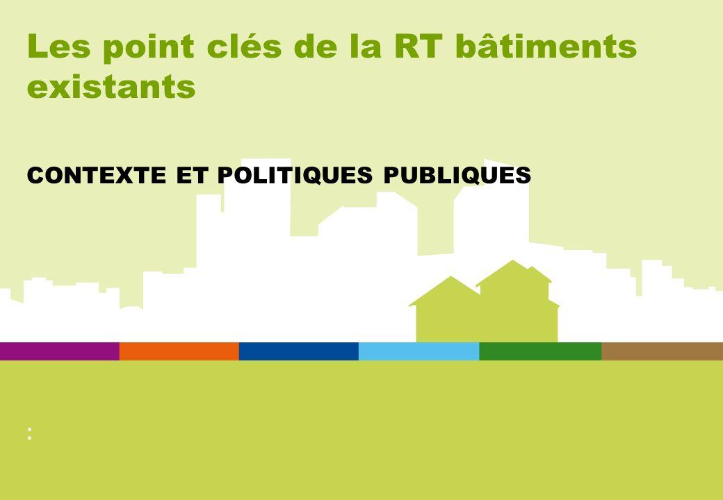 Les point clés de la RT bâtiments existants CONTEXTE ET POLITIQUES PUBLIQUES :