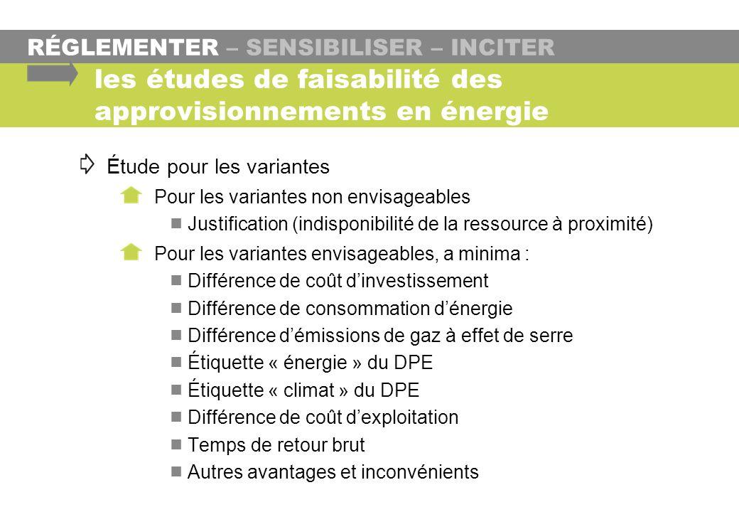 RÉGLEMENTER – SENSIBILISER – INCITER les études de faisabilité des approvisionnements en énergie Étude pour les variantes Pour les variantes non envis
