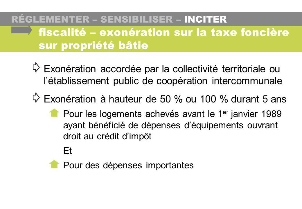RÉGLEMENTER – SENSIBILISER – INCITER Exonération accordée par la collectivité territoriale ou létablissement public de coopération intercommunale Exon