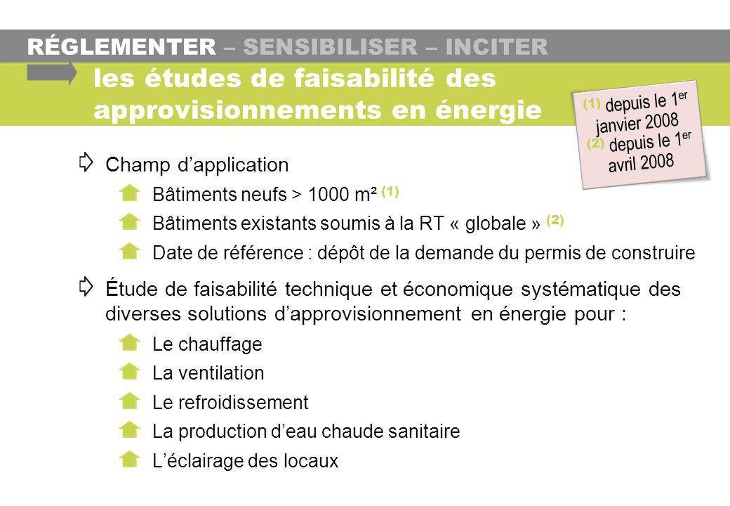 RÉGLEMENTER – SENSIBILISER – INCITER les études de faisabilité des approvisionnements en énergie Champ dapplication Bâtiments neufs > 1000 m² (1) Bâti