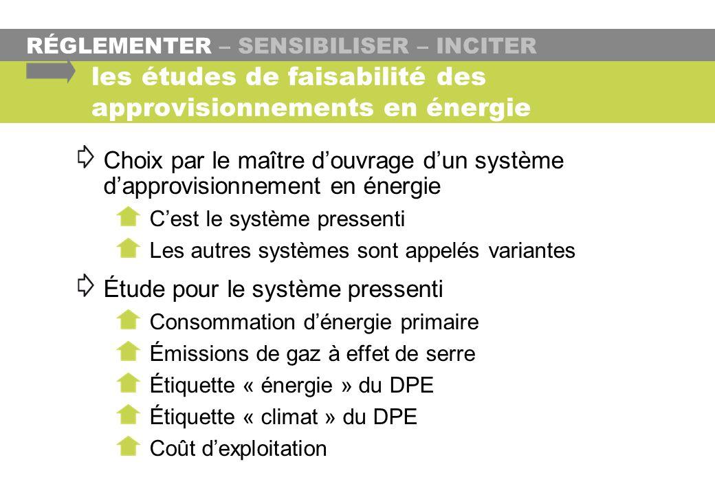 RÉGLEMENTER – SENSIBILISER – INCITER les études de faisabilité des approvisionnements en énergie Choix par le maître douvrage dun système dapprovision